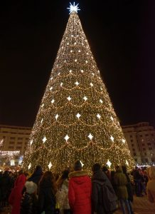 A large Christmas tree